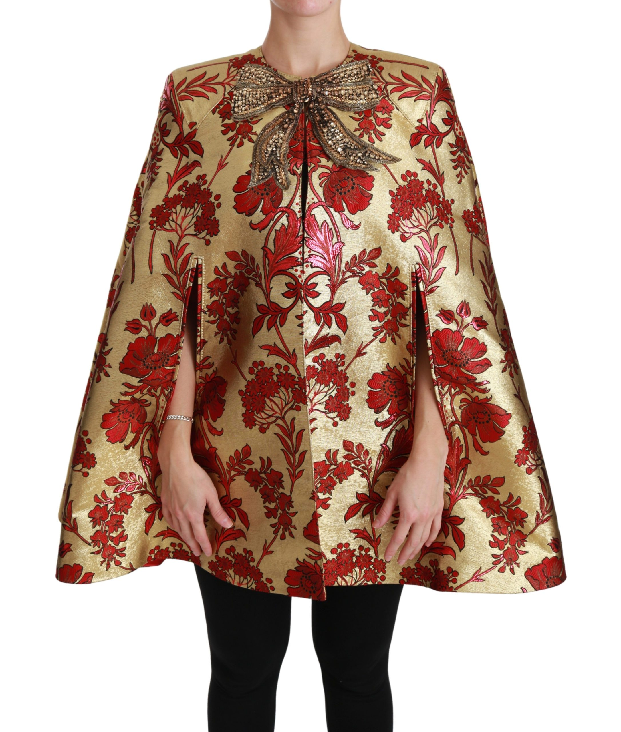 Dolce & Gabbana Women's Floral Crystal Bow Coat Cape Jacket Red JKT2574 - IT40|S