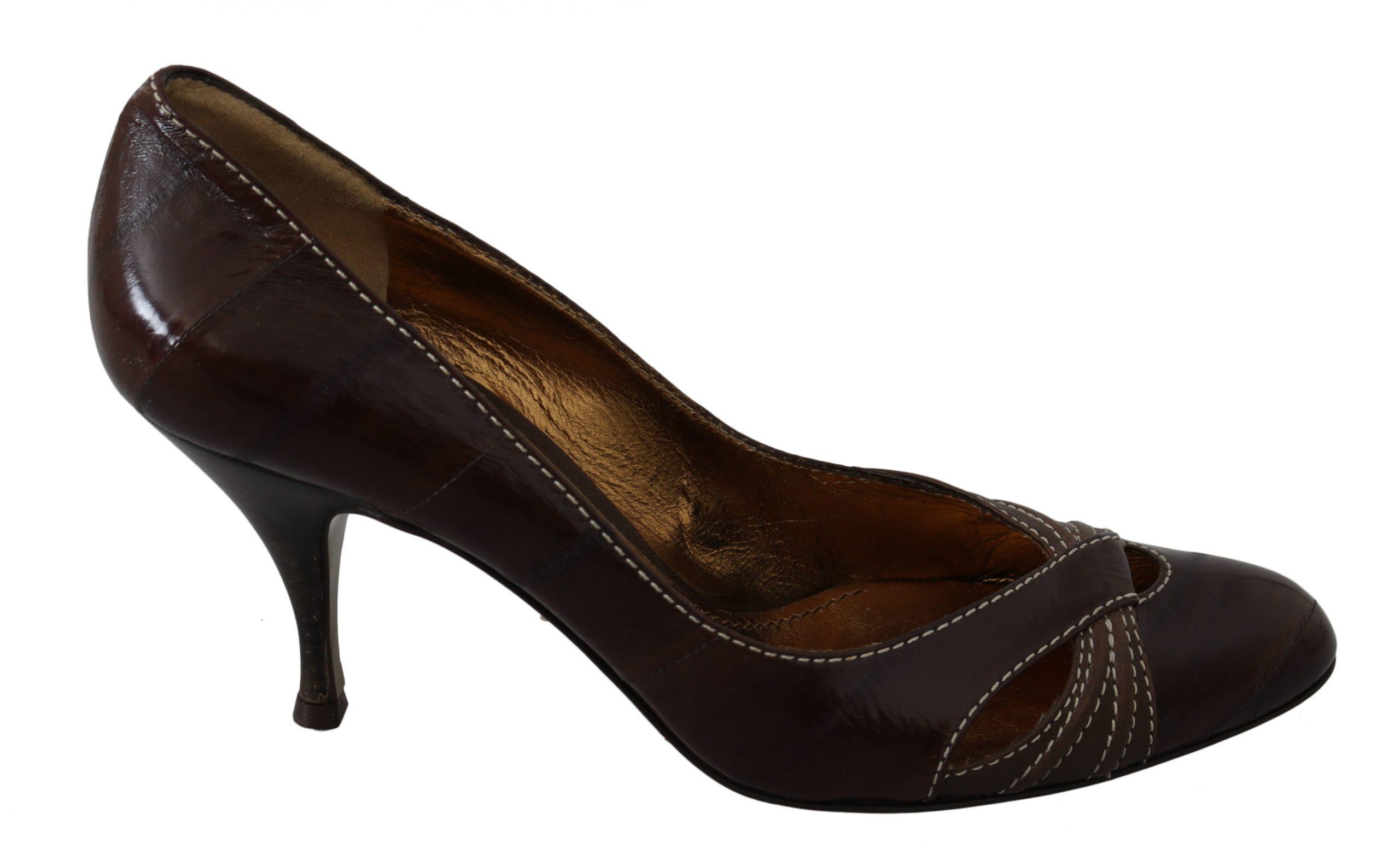 Dolce & Gabbana Women's Leather Pumps Brown LA7466 - EU39/US8.5