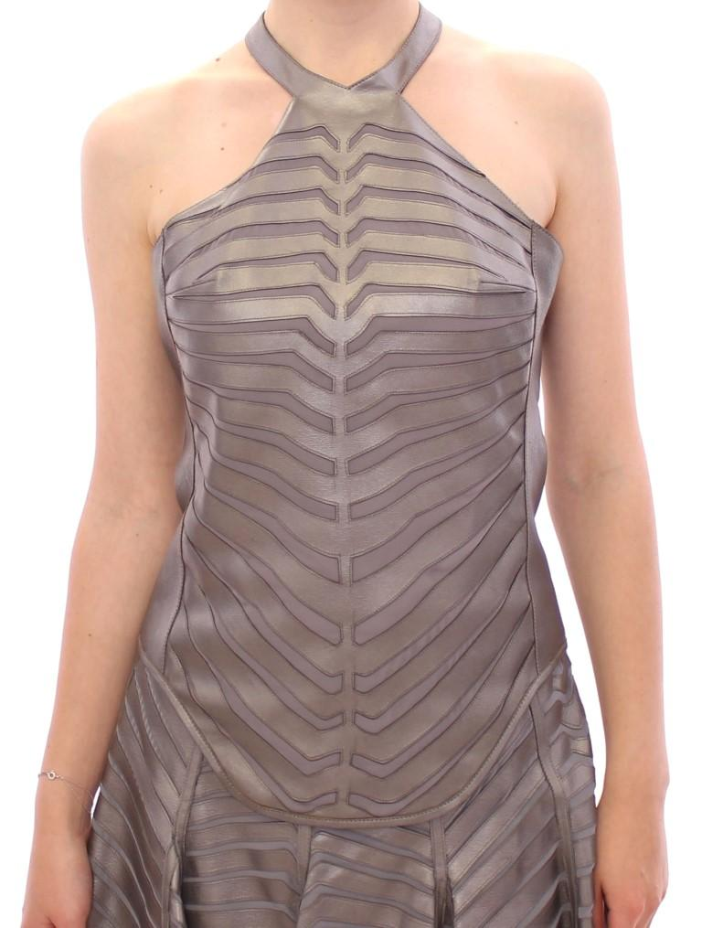Arzu Kaprol Women's Leather Striped Halter Neck Top Silver GSS10323 - IT40|S