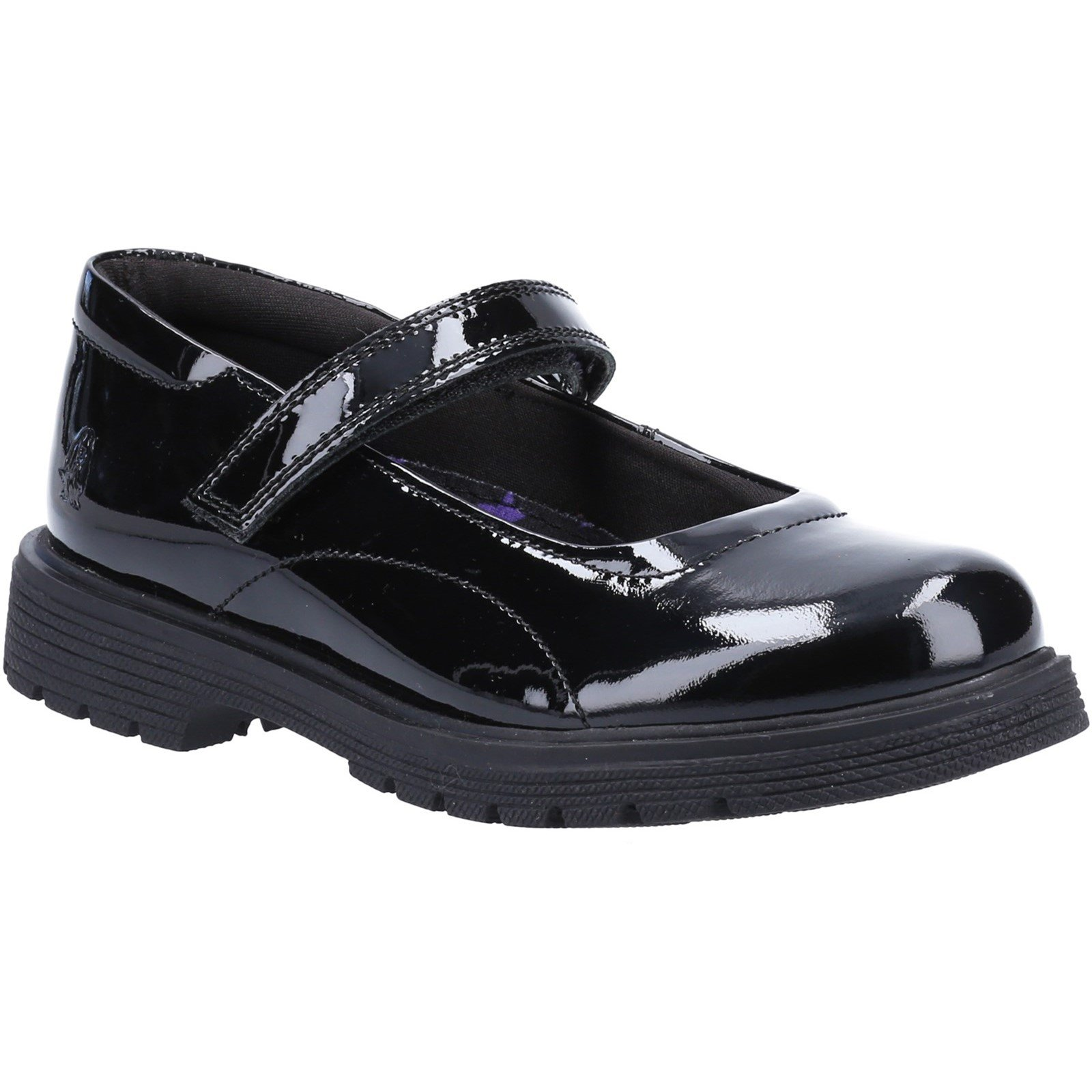 Hush Puppies Kid's Tally Senior School Flat Shoe Patent Black 32815 - Patent Black 4