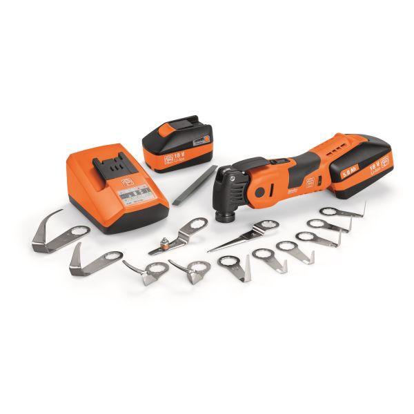 Fein MultiMaster AMM 700 1.7 Q Bilglas Multi verktøy med batterier, ladere og tilbehør