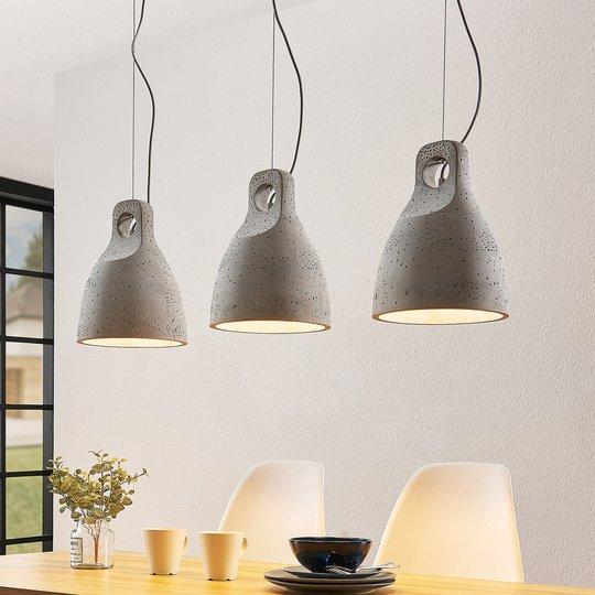 Lindby Ibu -riippuvalo, betonia, 3-lamp.