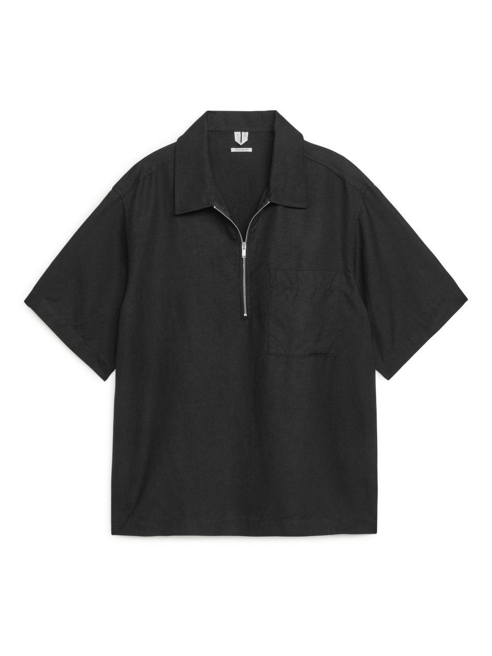 Half-Zip Short-Sleeved Shirt - Black