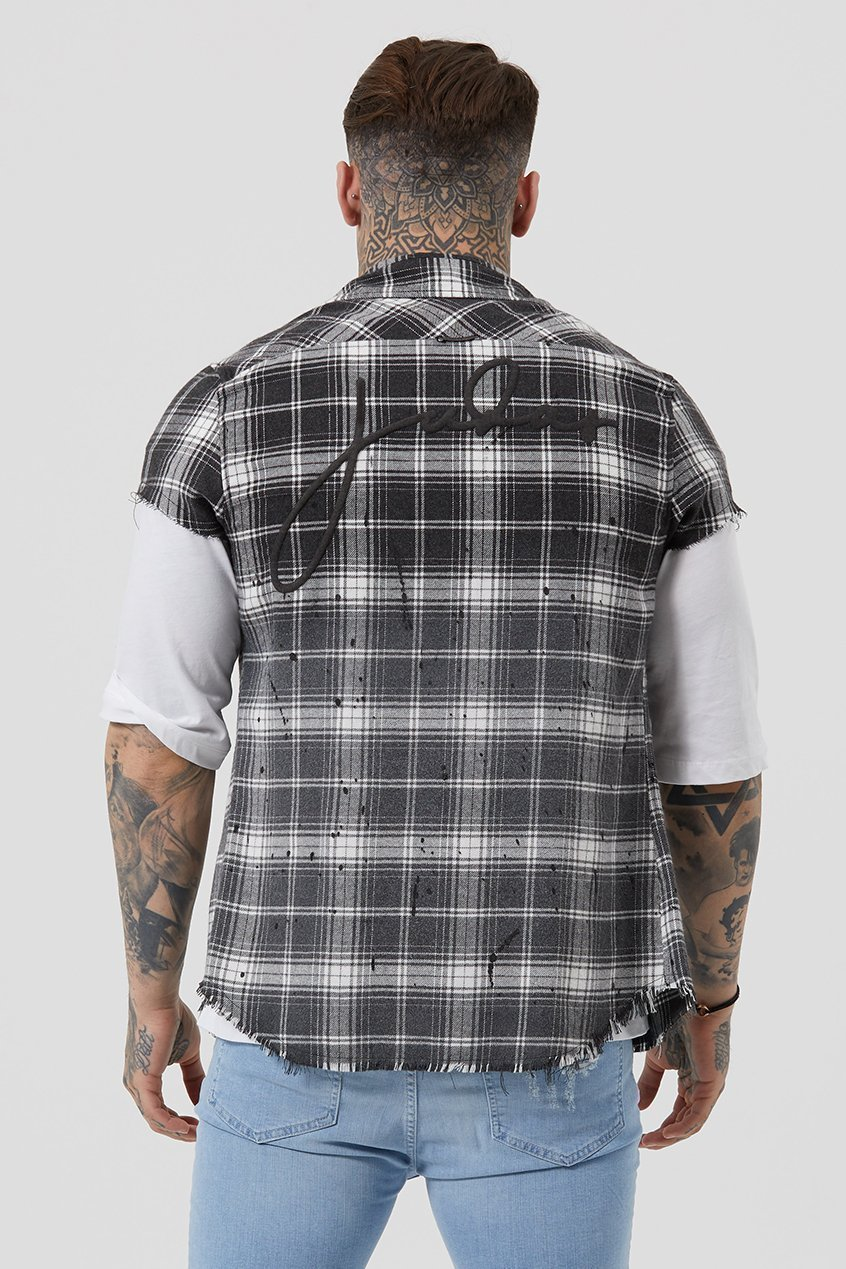 Fear Cut Off Dip Dye Plaid Men's Shirt - Black Check, Small