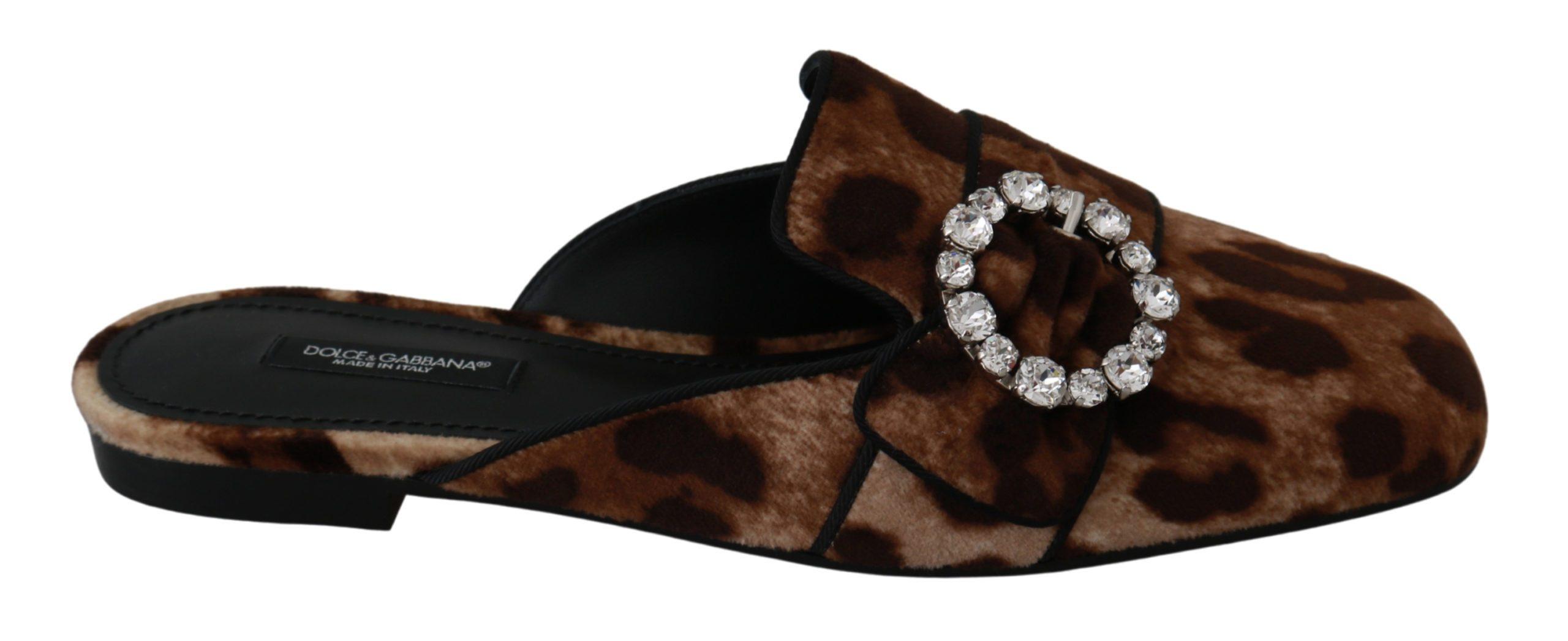 Dolce & Gabbana Women's Leopard Crystal Slide On Flat Brown LA6412 - EU37.5/US7