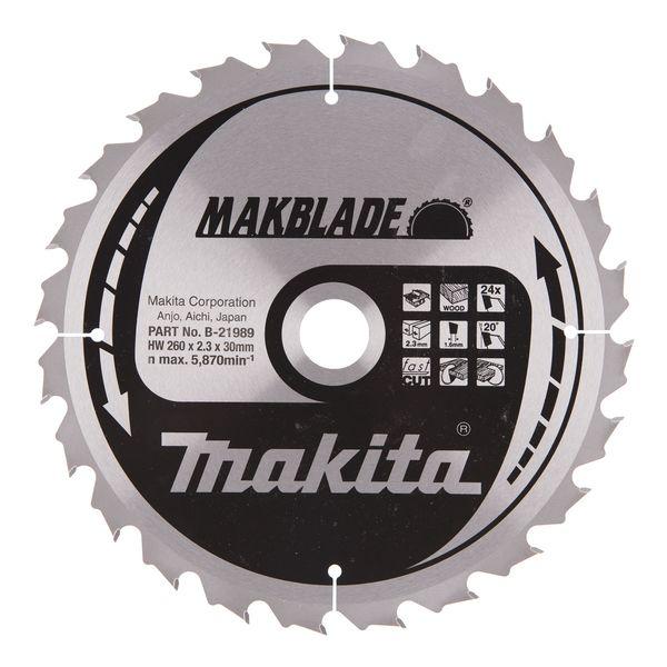 Makita B-21989 Sahanterä 260X2,3x30 mm, 24T