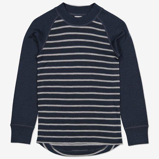 Merinoull stripet trøye mørkblå