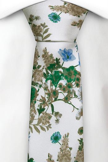 Silke Smale Slips, Grønne, blå og beige blomster på hvitt, Hvit, Blomstrete