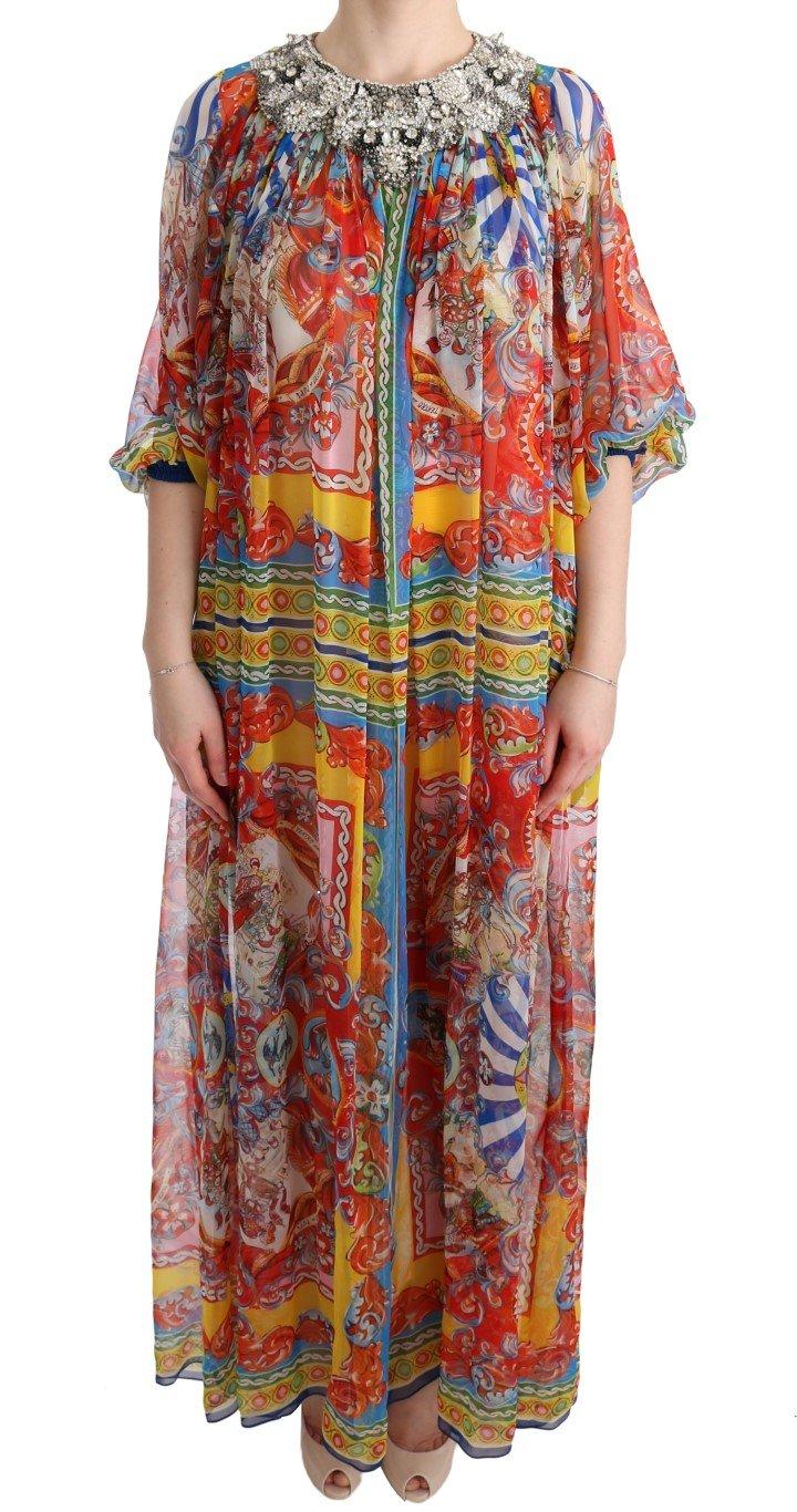 Dolce & Gabbana Women's Silk Carretto Crystal Tunic Dress Multicolor SIG60636 - IT40|S