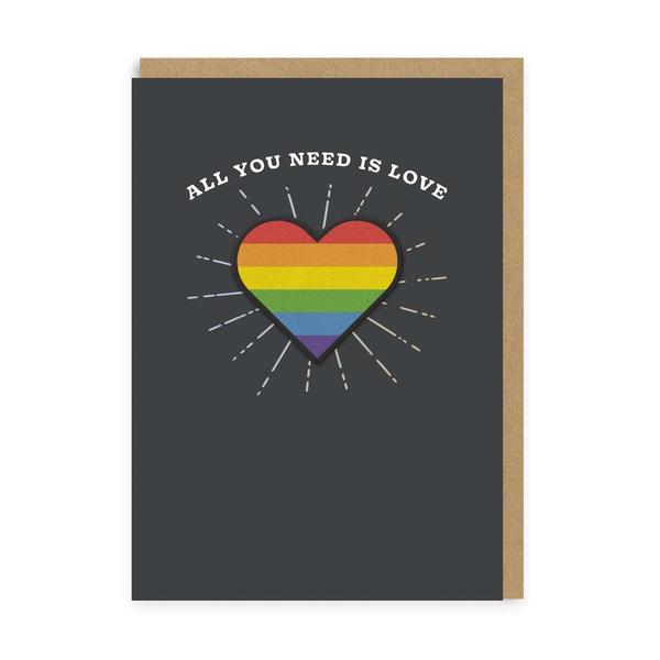 All You Need Is Love Rainbow Heart Woven Patch Card