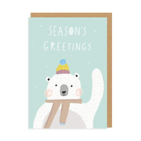 Seasons Greeting Polar Bear Christmas Card