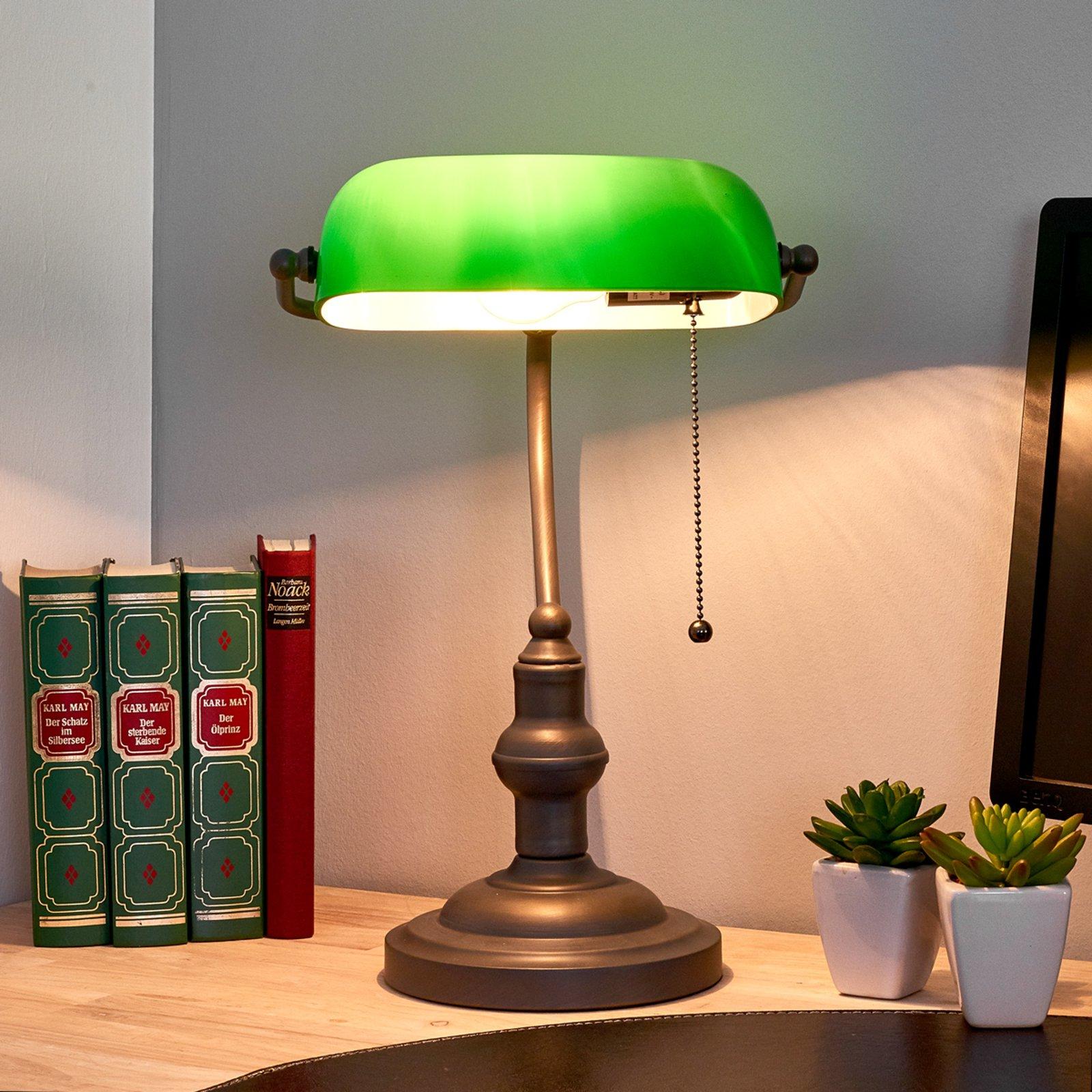 Vakker banklampe Verda med antikkbrun fot