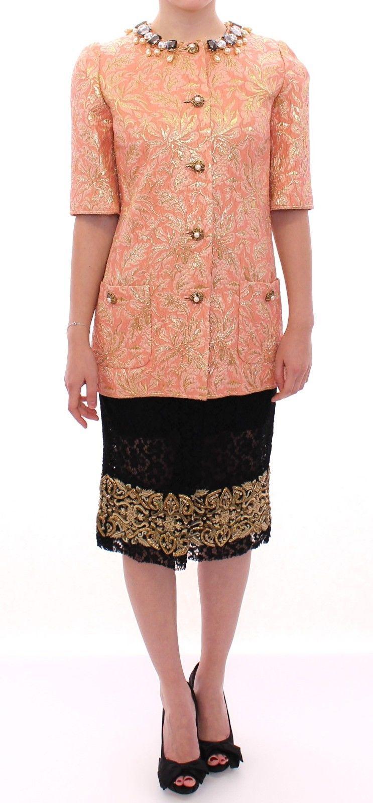 Dolce & Gabbana Women's Silk Brocade Crystal Jacket Coat Pink GSS11674 - IT40|S