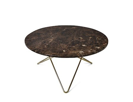 O Table Spisebord Messing/Brun Marmor Ø80