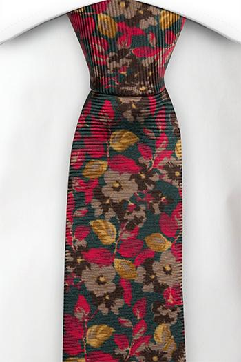 Silke Smale Slips, Grønt med røde og gule blomster, Grønn, Blomstrete