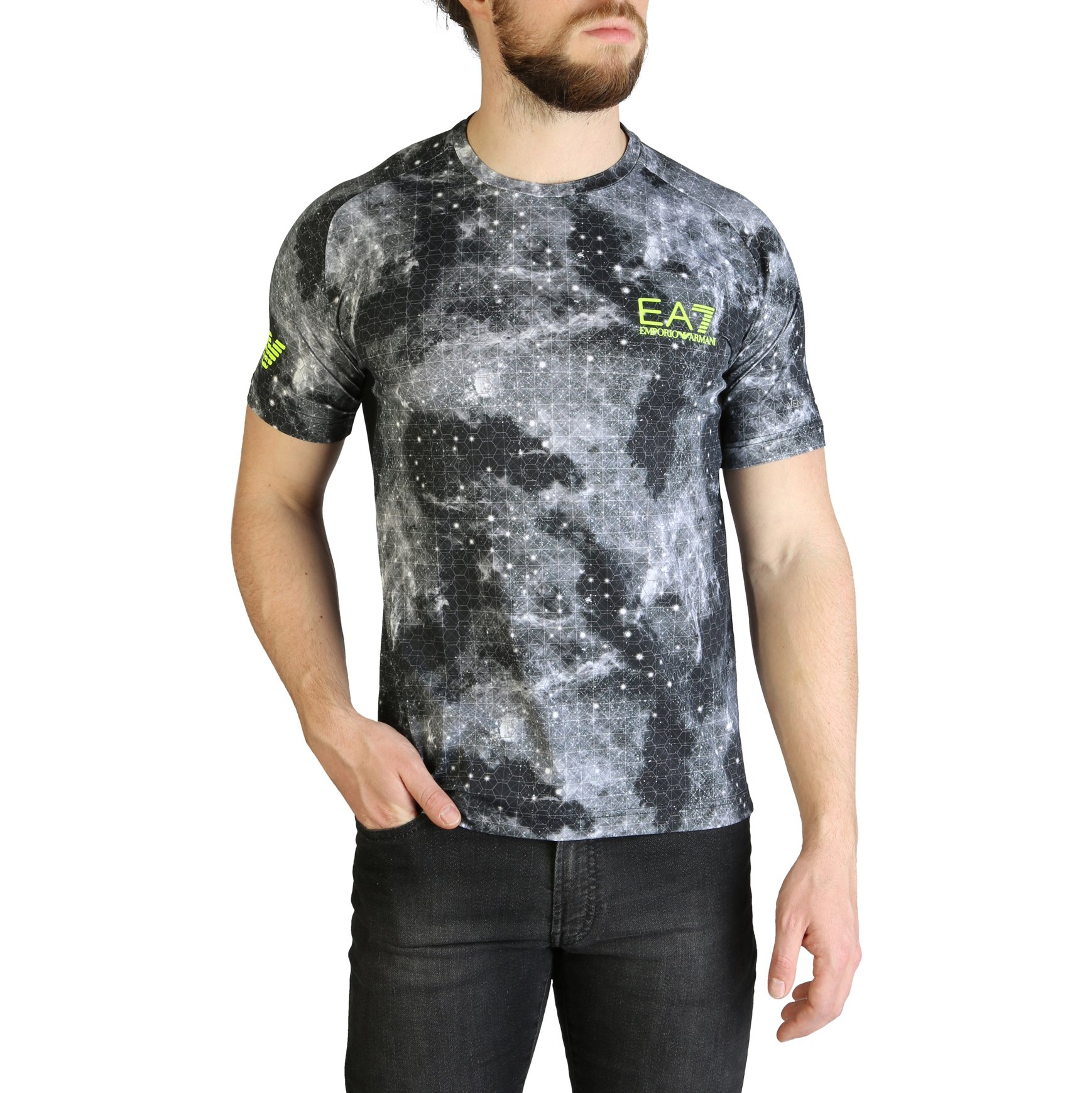 EA7 Men's T-Shirt Green 3GPT93_PJ2BZ - black M