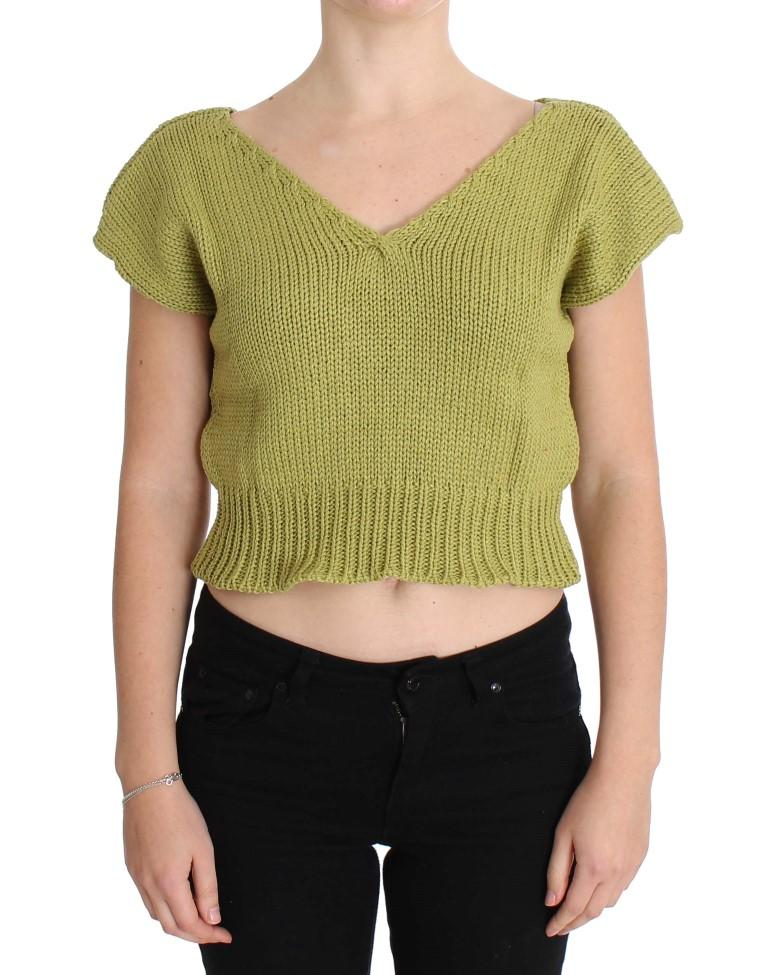 Pink Memories Women's Knitted Sleeveless Sweater Green SIG30251 - One Size