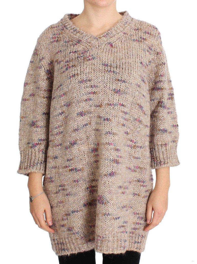Pink Memories Women's Knitted Oversize Sweater Beige SIG30261 - IT42|M