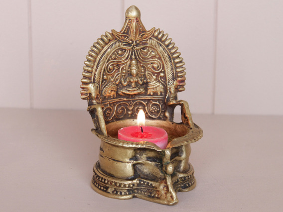 Traditional Brass Laxmi Temple Lamp Small