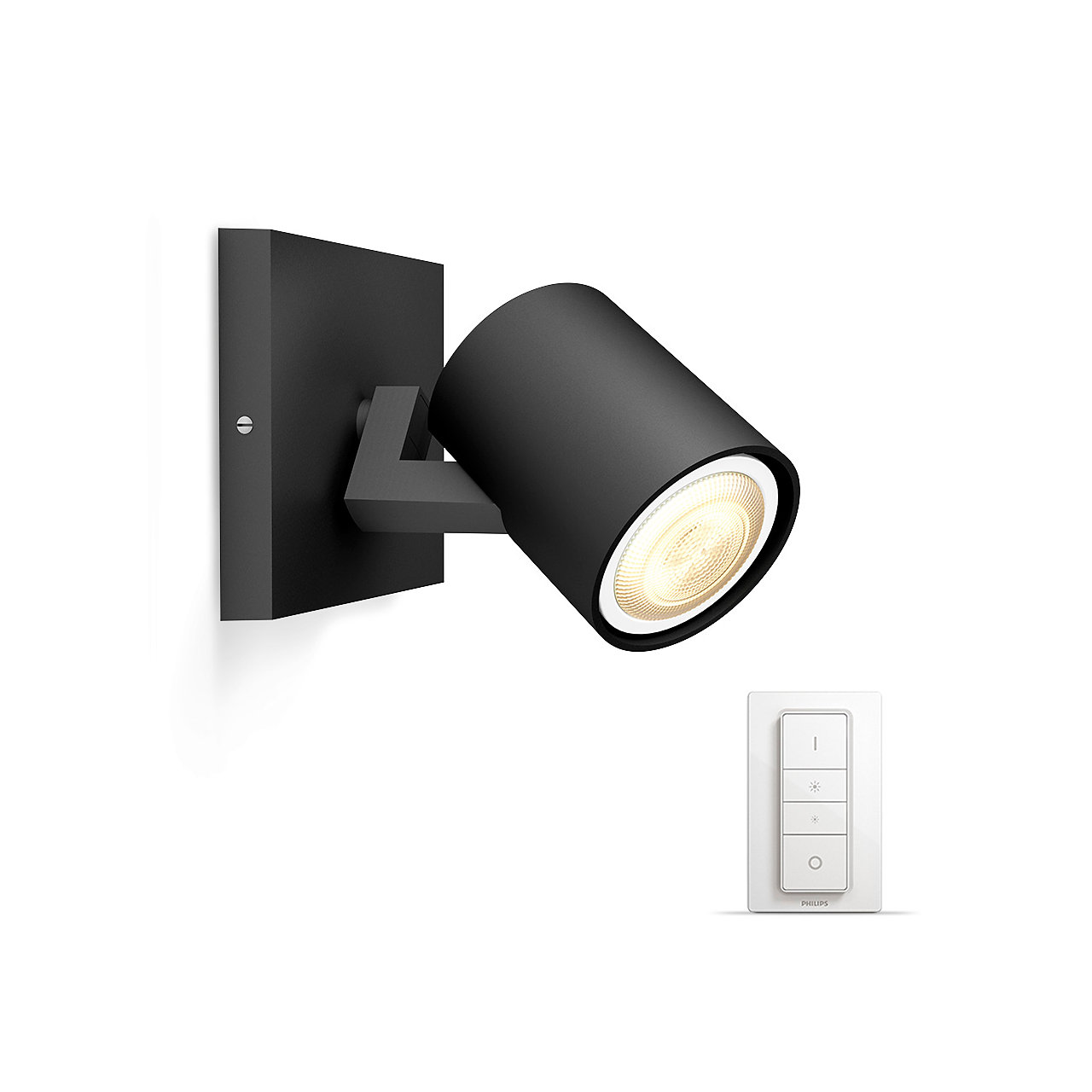 Philips Hue - Runner black 1x5.5W - White Ambiance Bluetooth Dimmer Included