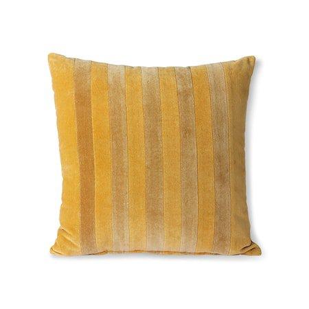 Striped Velvet Cushion ochre/Gold 45x45 cm