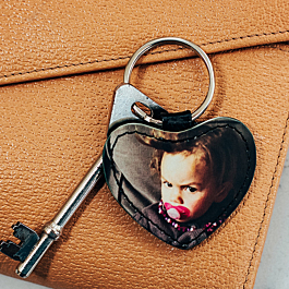 Faux Leather Heart Keyring
