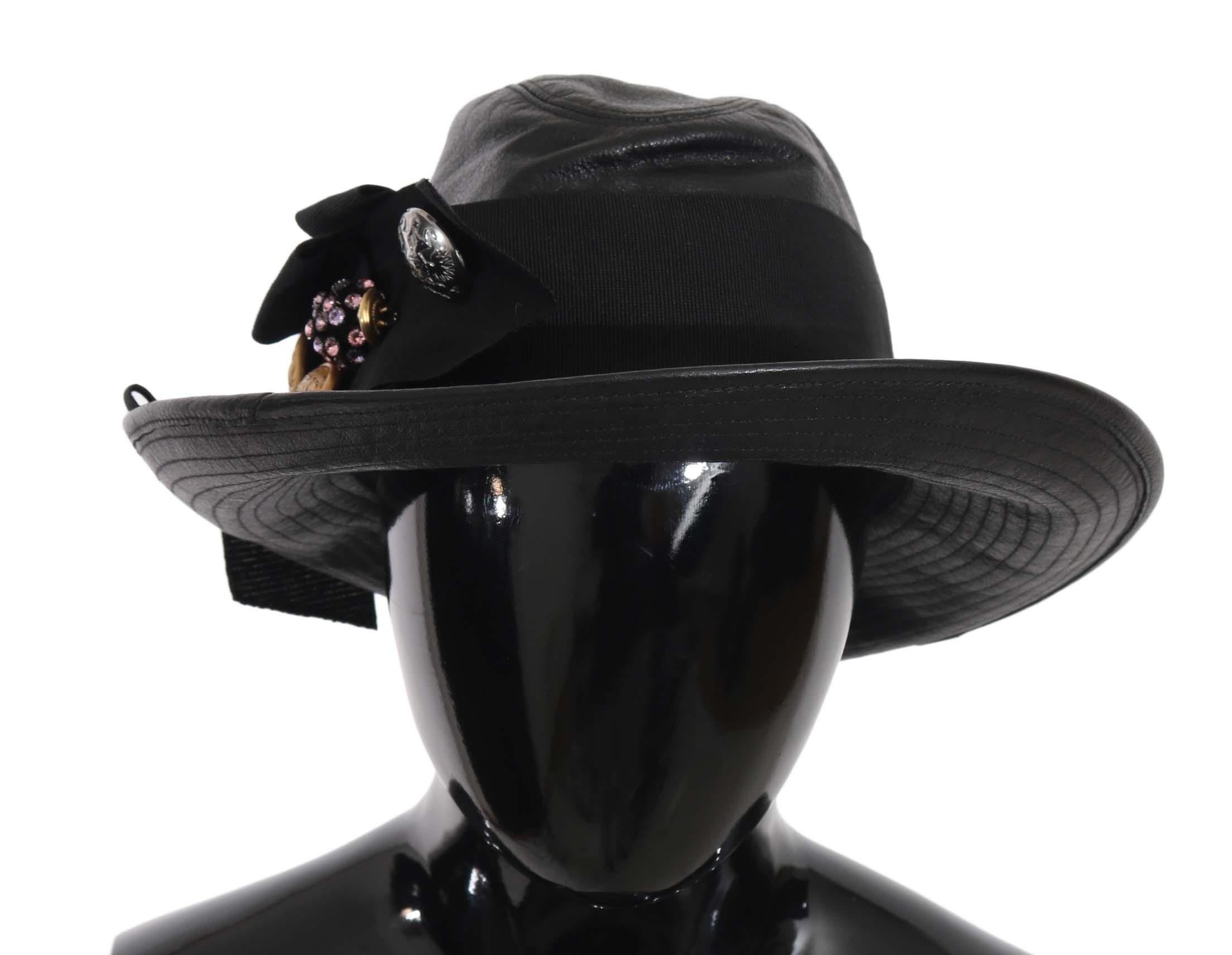 Dolce & Gabbana Women's Leather Wide Brim Crystal Hat Black HAT70130