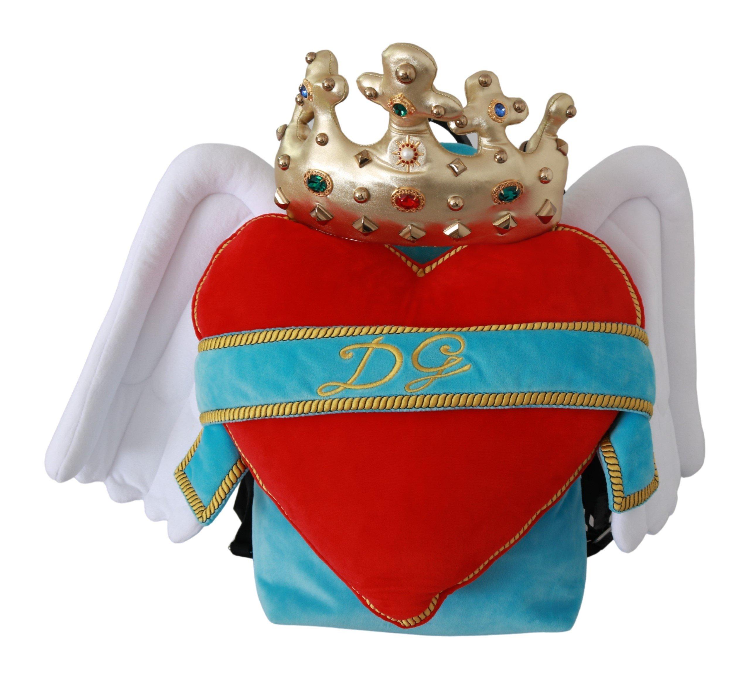 Dolce & Gabbana Women's Heart Wings DG Crown School Backpack Blue VAS9274