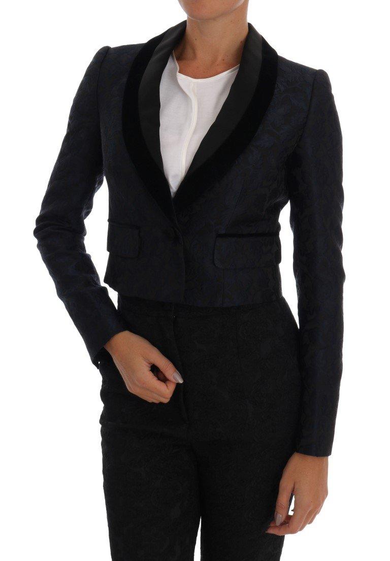 Dolce & Gabbana Women's Jacquard Short Blazer Blue JKT1048 - IT38 XS