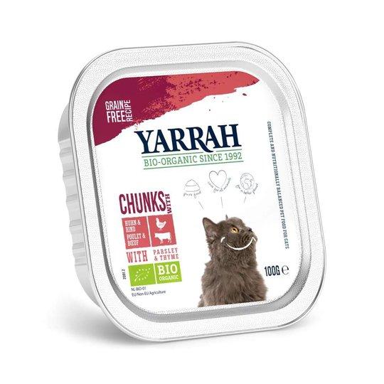 Yarrah Organic Cat Chicken & Beef Chunks Grain Free 100 g