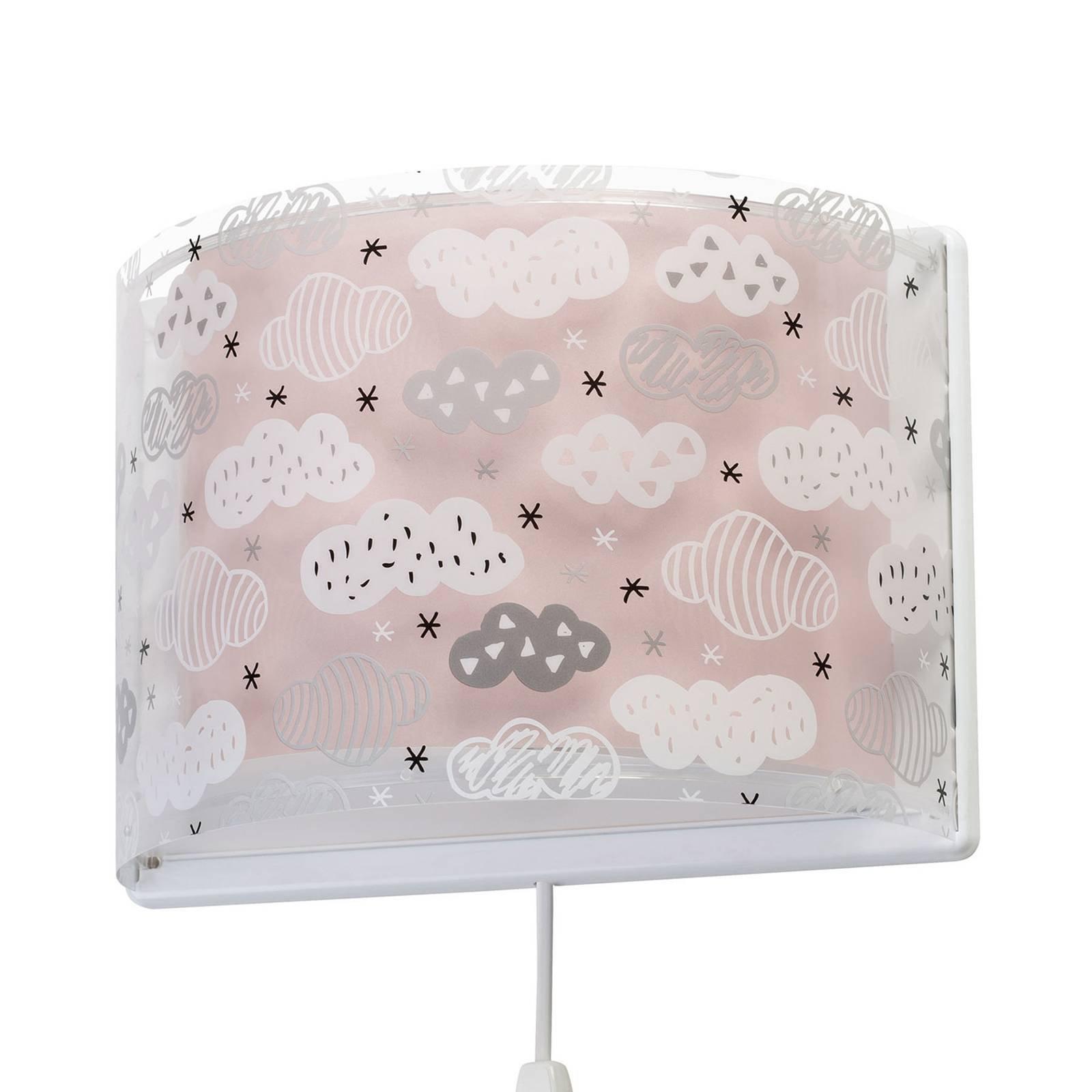 Barne-vegglampe Clouds i rosa