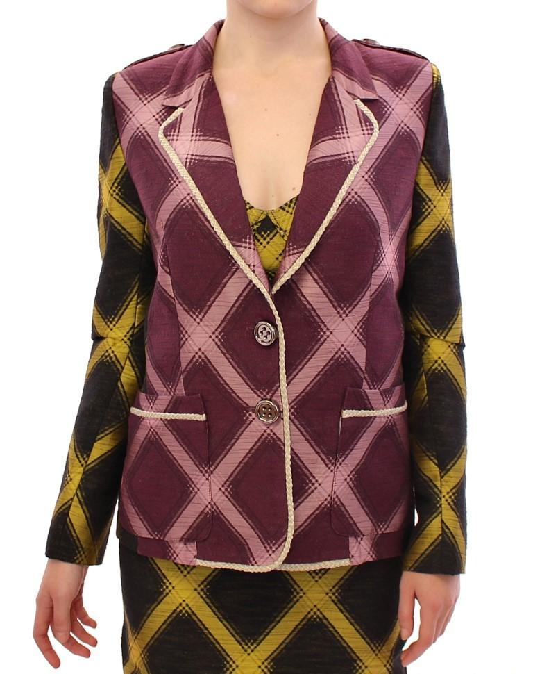 House of Holland Women's Checkered Blazer Purple GSS10683 - S