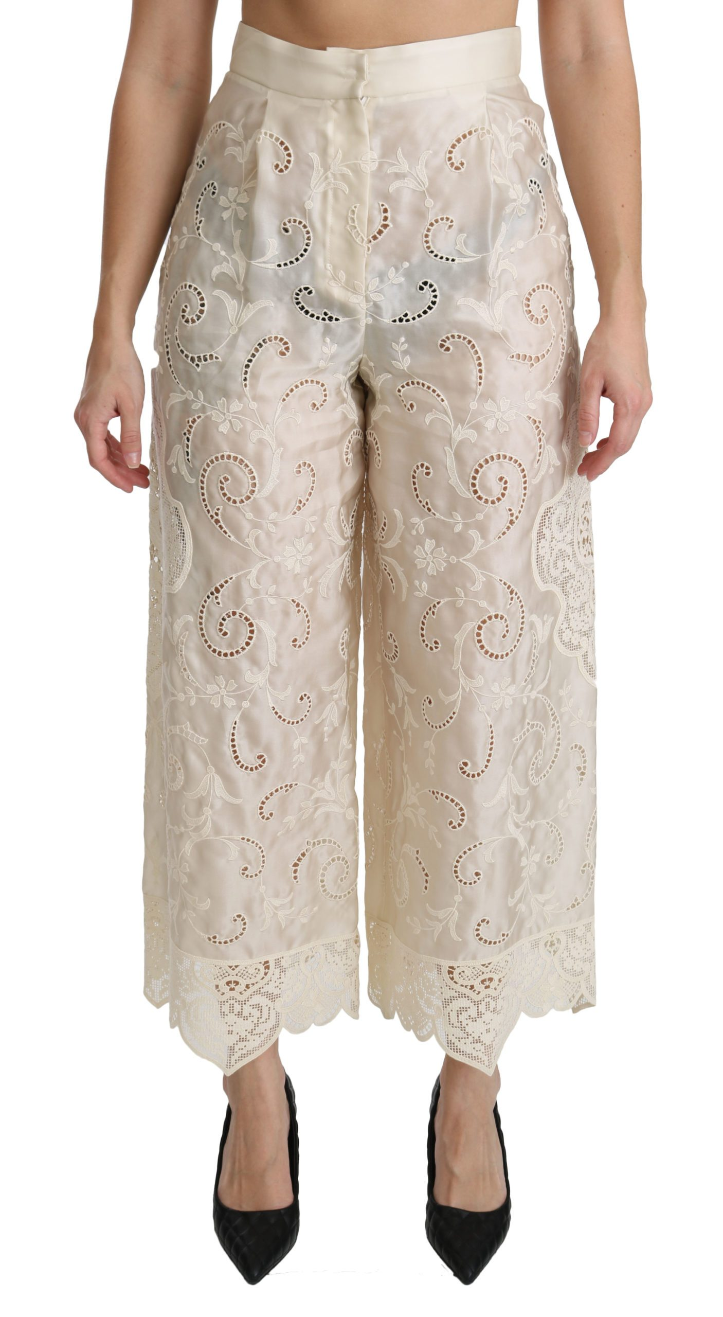 Dolce & Gabbana Women's Lace High Waist Palazzo Cropped Trouser Cream PAN70873 - IT44 L