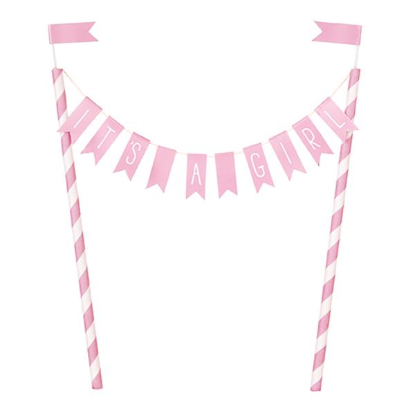 Tårtdekoration It´s A Girl Ljusrosa Flaggor - 1-pack