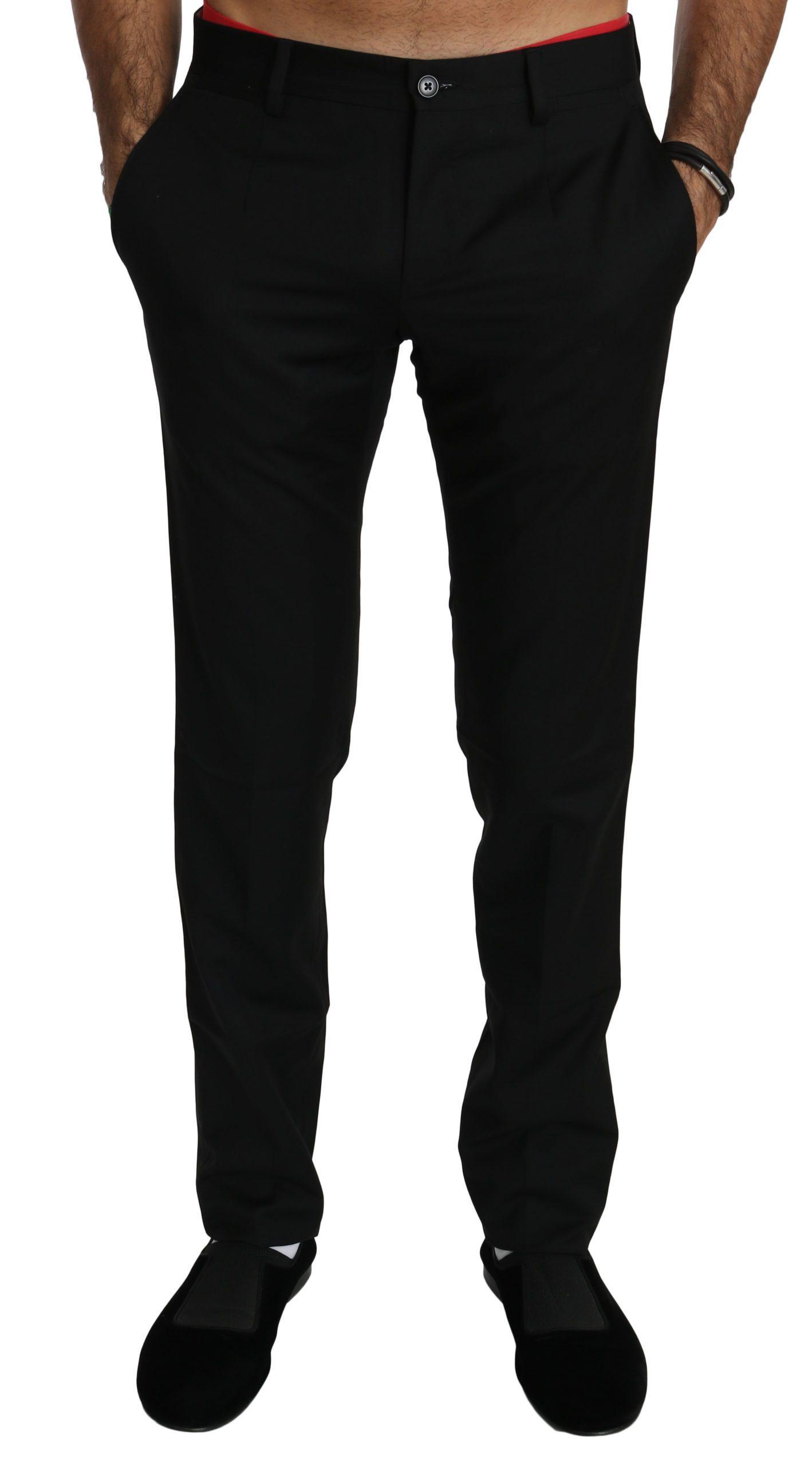 Dolce & Gabbana Men's Dress Formal Wool Trouser Black PAN70765 - IT44 | XS