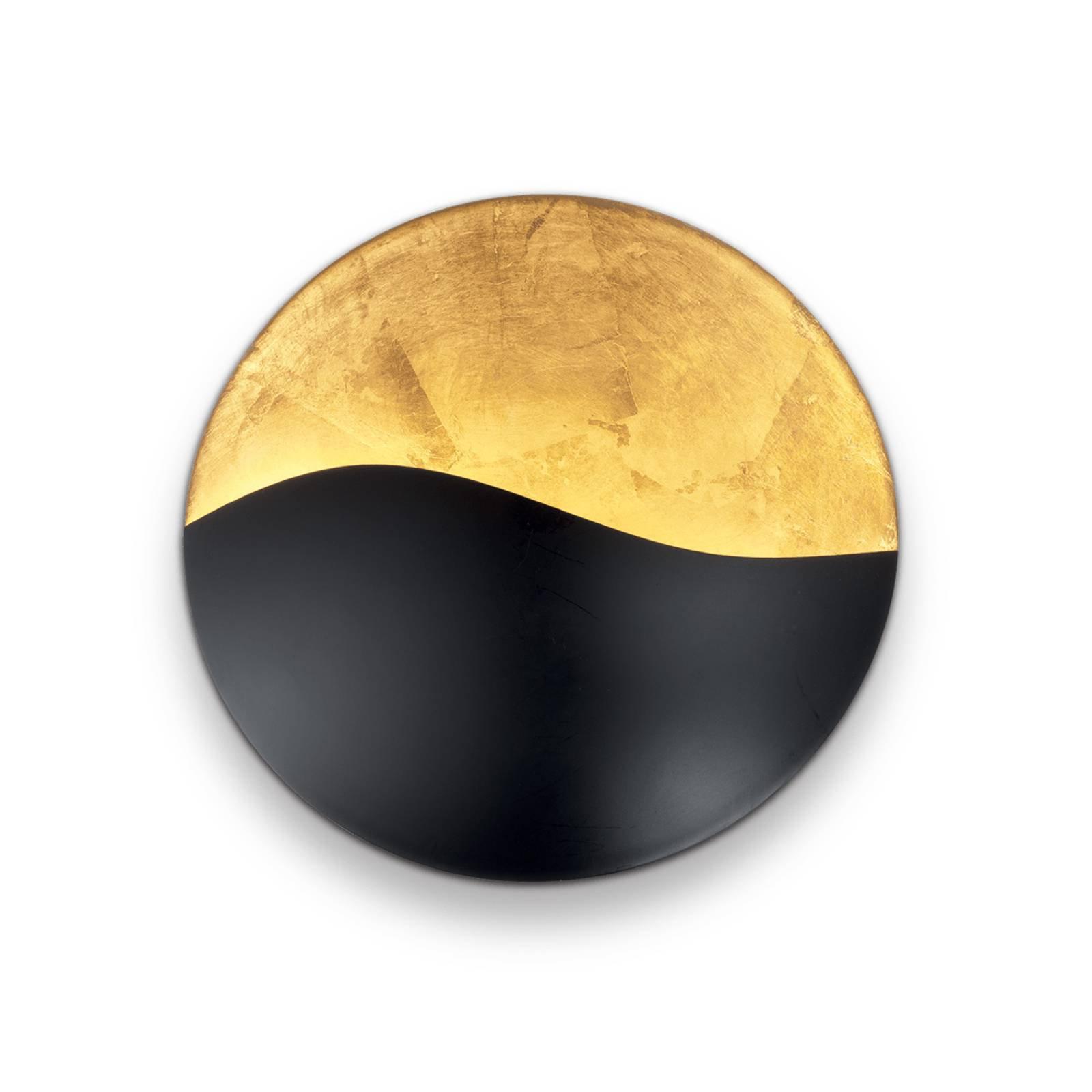 Vegglampe Sunrise G9, svart/gull, Ø 27,5 cm