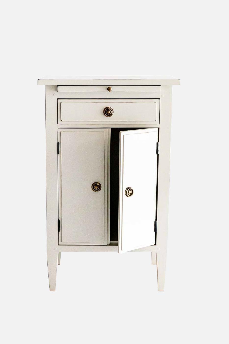 Sängbord Oscar 1 låda 2 dörrar antikgrå