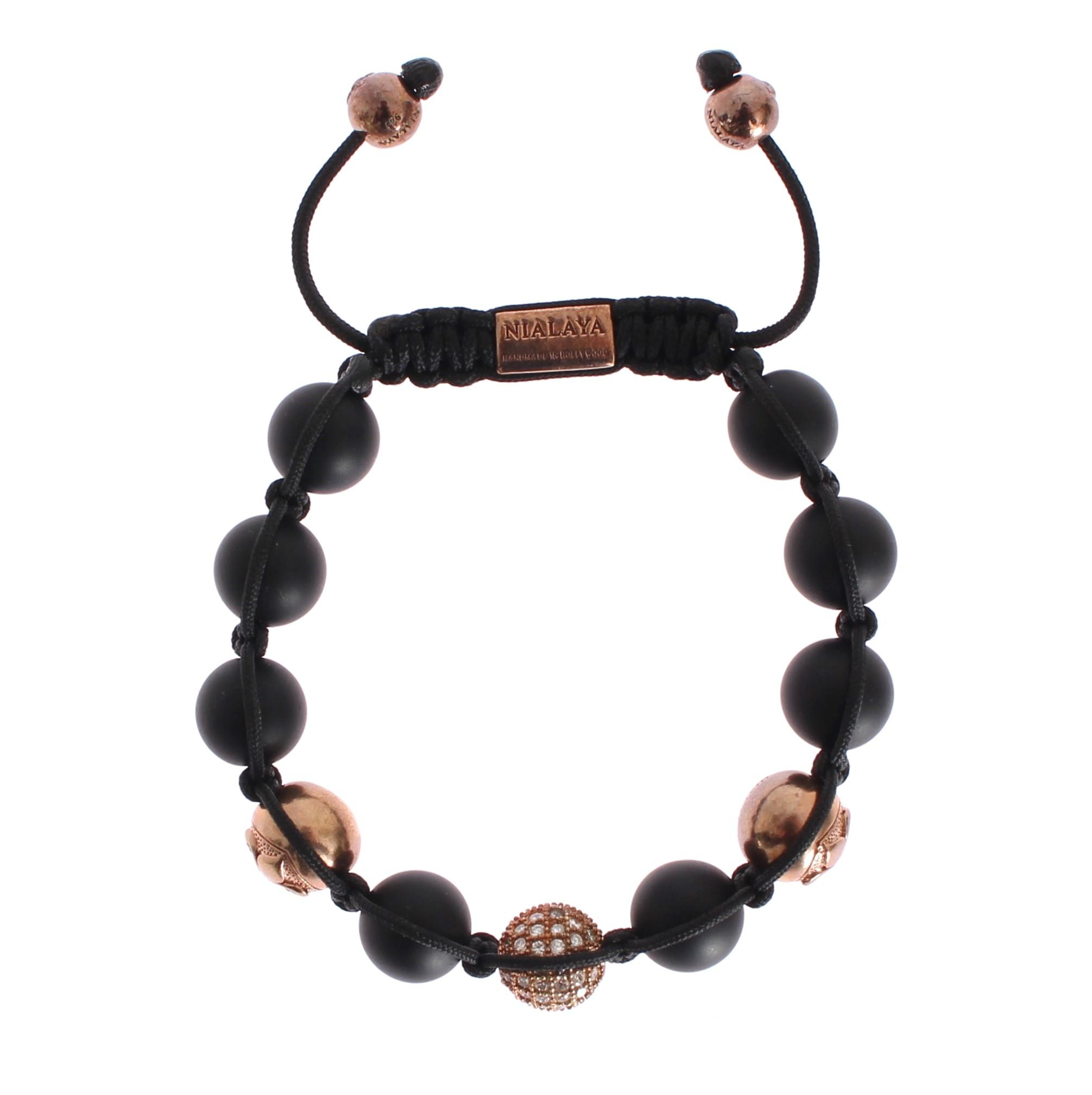 Nialaya Women's CZ Onyx Pink Gold 925 Bracelet Black NIA20302 - S
