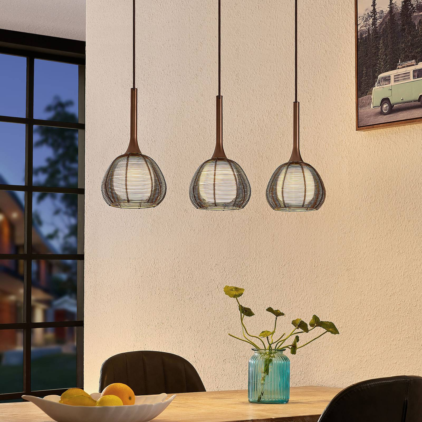Lucande Tetira -riippuvalo, 3-lamppuinen, ruskea