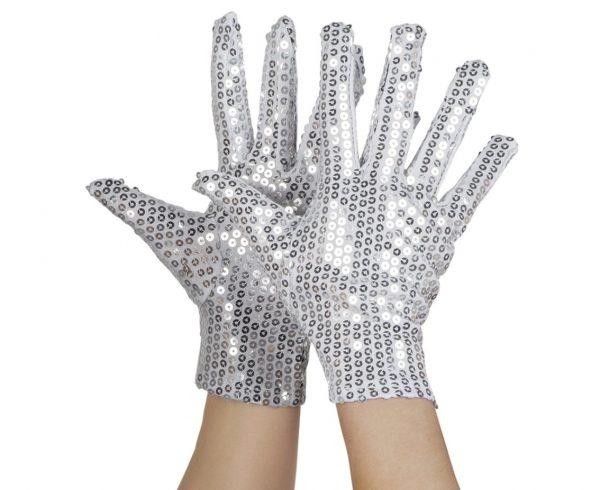 Silver handskar paljetter
