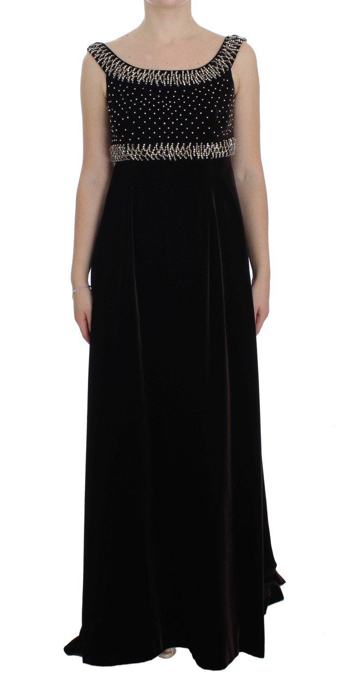 Dolce & Gabbana Women's Crystal Sheath Gown Dress Brown NOC10135 - IT40 S