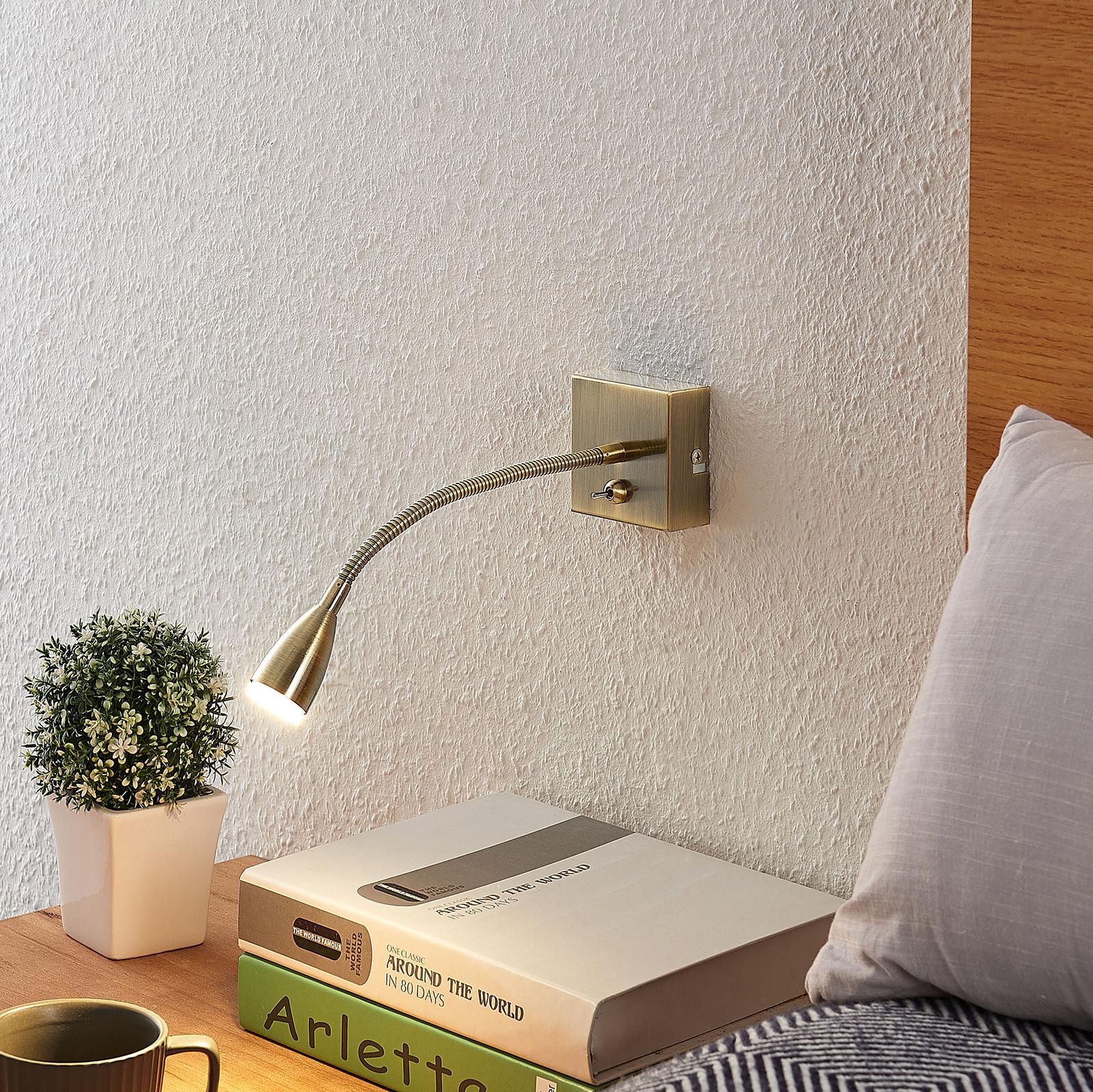 Lindby Jolka -LED-lukuvalo, antiikkimessinki