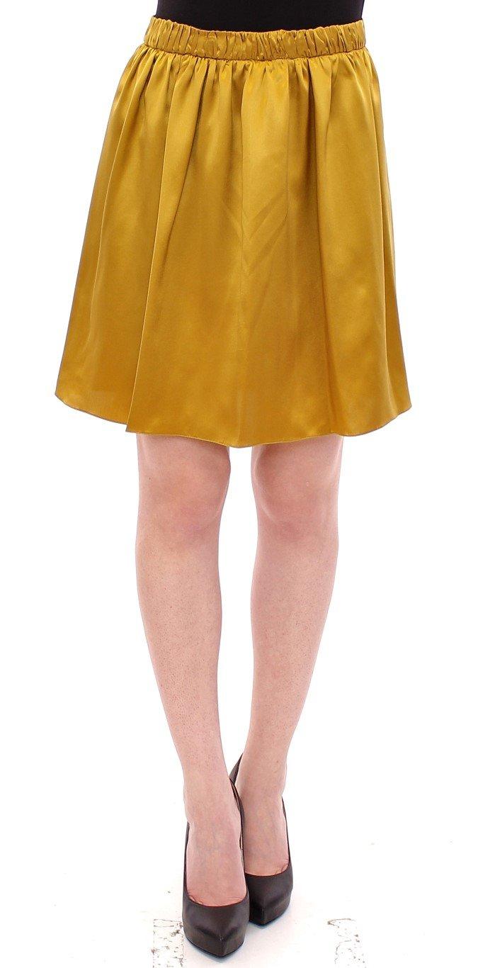 Andrea Incontri Women's Silk Solid Mini A-Line Skirt Gold GSS10714 - IT42|M