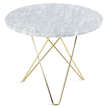 O Table Matbord Mässing/Vit Marmor Ø80