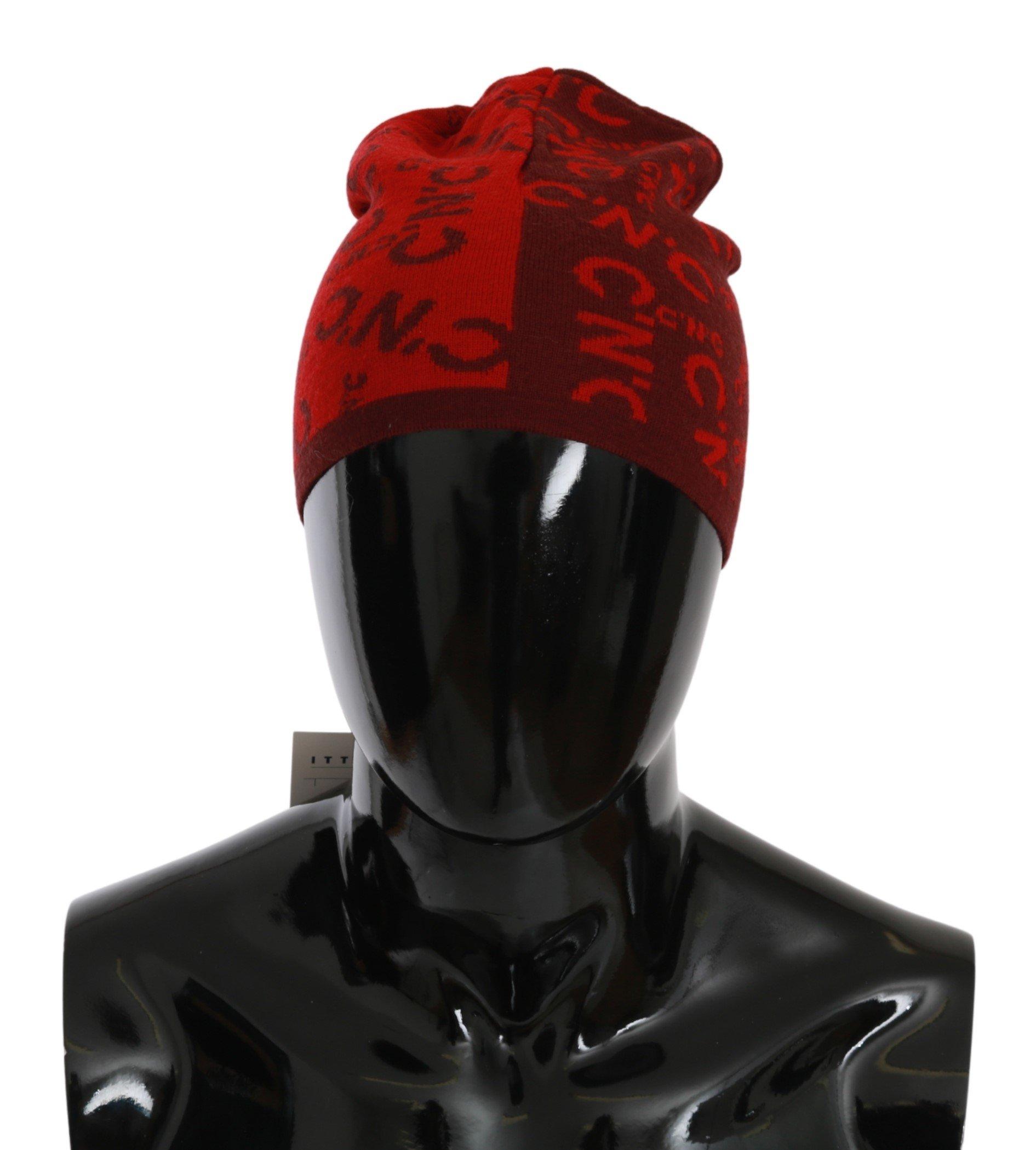 Costume National Men's Wool Blend Branded Hat Red HAT20132