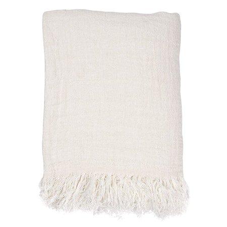 Linen Sengeteppe White 270x270 cm