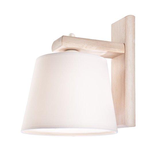Vegglampe Sweden med trestamme, antikk hvit