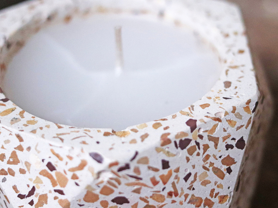 Terrazzo Candle Holder with Candle