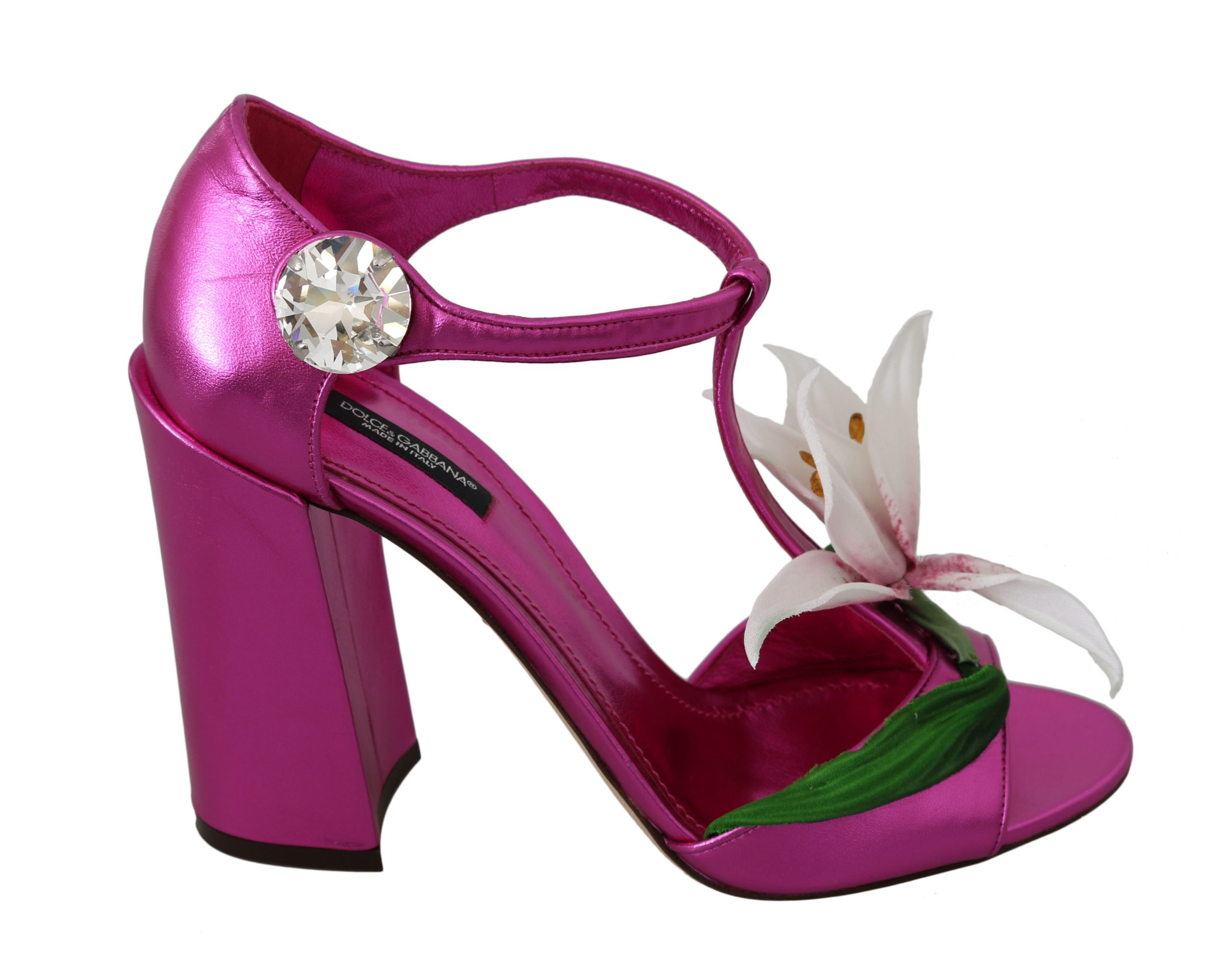 Dolce & Gabbana Women's Leather Floral Crystal Sandals Pink LA7446 - EU40/US9.5