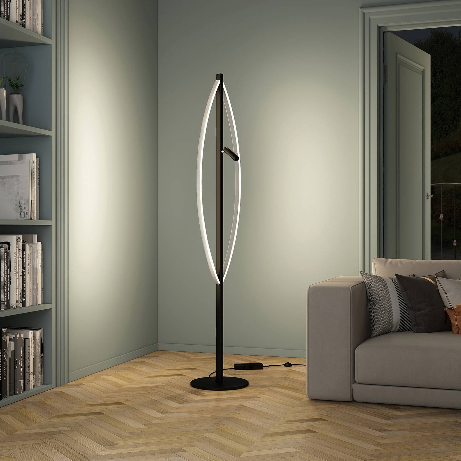 Lucande Matwei -LED-lattiavalo, ovaali, nikkeliä